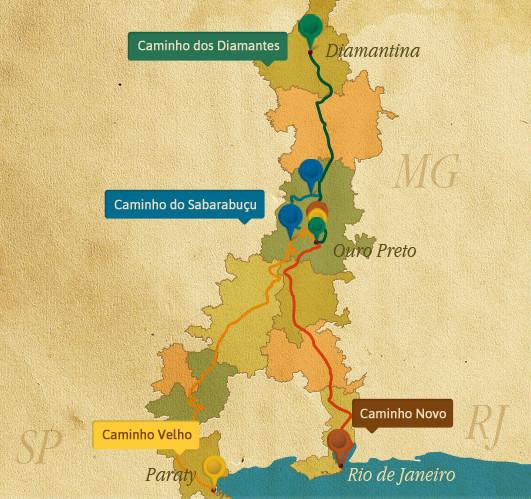 Mapa da Estrada Real - 5 Lugares Imperdíveis em Minas Gerais
