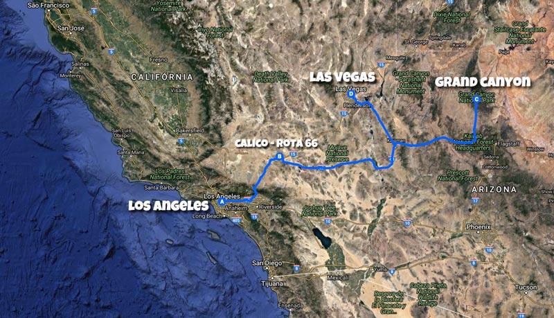 Mapa Califórnia Road Trip - Los Angeles Grand Canyon Las Vegas
