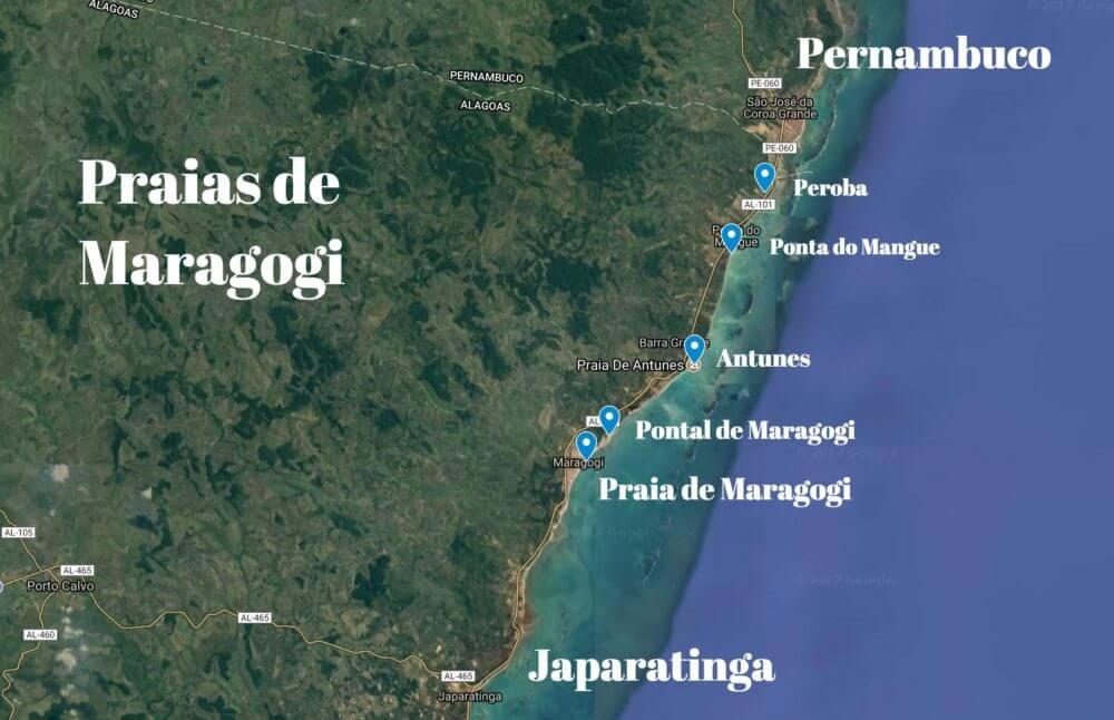 O que fazer em Maragogi Alagoas: Melhores Praias - Mapa