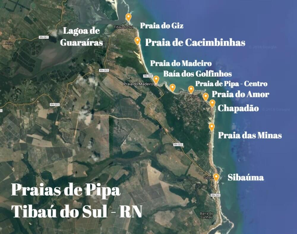 Mapa Praias de Pipa RN - O que fazer em Pipa