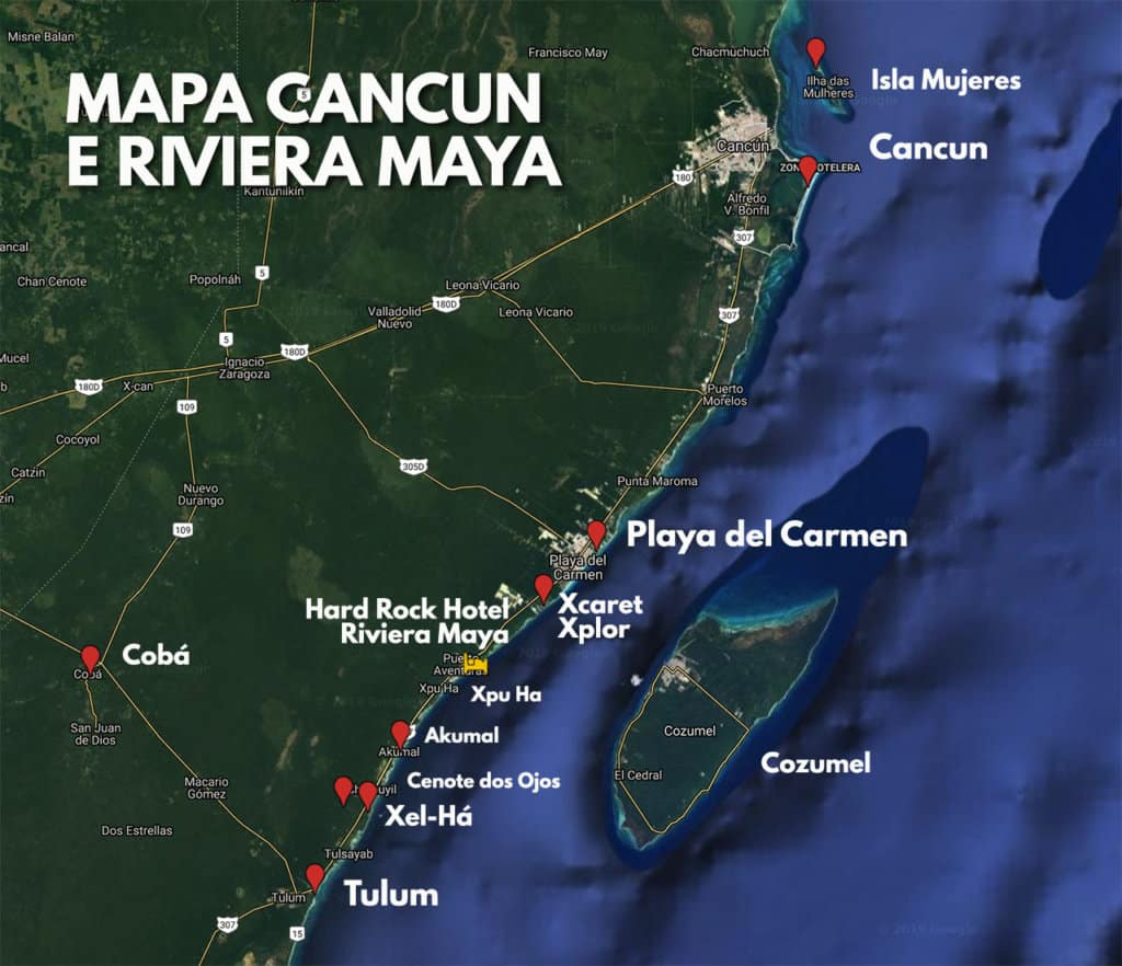 Mapa Cancun, Riviera Maya e Principais Pontos Turísticos